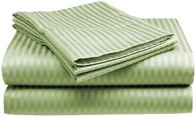 Queen Size Sage 400 Thread Count 100% Cotton Sateen Dobby Stripe Sheet Set Bedding