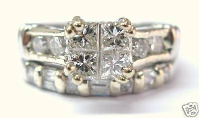 (Fine Platinum Princess Cut Diamond Wedding Set Ring 1.30CT)