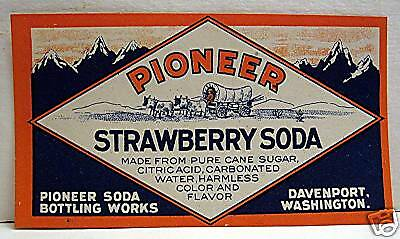 Pioneer Strawberry Soda Old Label Davenport Washington