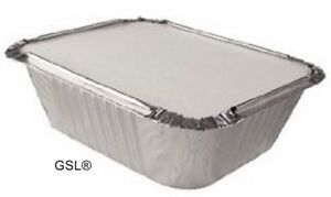 100 ALUMINIUM FOIL FOOD CONTAINERS + LIDS No2 TAKEAWAY