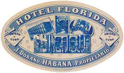 Havana Cuba Hotel Florida    Vintage 1950's Style Travel Decal Sticker (1950's Havana Fashion)