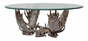 Iron Antler &  Glass Coffee Table