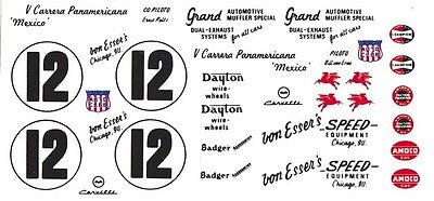 #12 Bill Von Esser's 1954 Corvette Pan American 1/43rd Scale Slot Car Decals