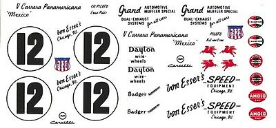 #12 Bill Von Esser's 1954 Corvette Pan American 1/32nd Scale Slot Car Decals