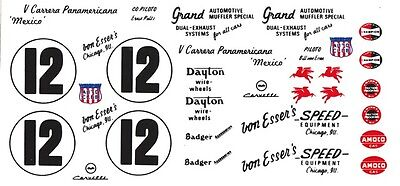 #12 Bill Von Esser's 1954 Corvette Pan American Decals 1/24th - 1/25th Decals