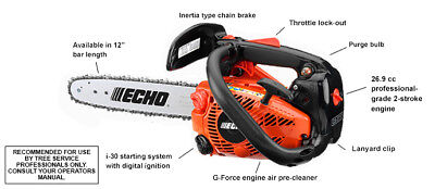 """Echo CS271T-12 Top Handle Chainsaw 26.9 CC Engine with 12"""" Bar and Chain, used for sale  USA"""