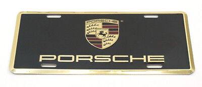 Genuine Porsche Metal Vanity Plate License w/ Full Color Crest OEM PNA701005