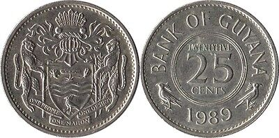 GUYANA: 4 PIECE VINTAGE COIN SET; 1 TO 25 CENTS ()