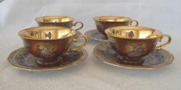 Vintage Set 4 JK Carlsbad Love Story Cups Saucers Gold Gilt Blue Decor