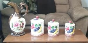 3 piece ceramic canister set plus matching vase