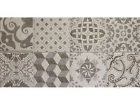 Grey patterned moroccan style tiles patchwork
