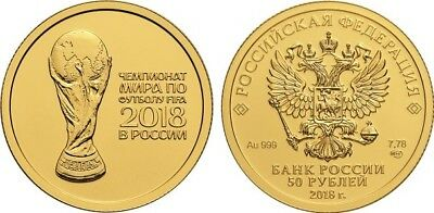 50 Rubel Russland St 1/4 Oz Gold 2018 FIFA World Cup in Russia Football Unc ()