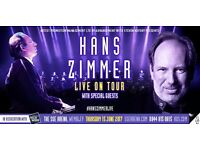 [2x tickets together] Hans Zimmer Live on Tour 2017 concert The SSE Arena Wembley