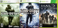 Halo Reach, World at War and COD 4 for Xbox 360