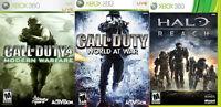 Halo Reach, World at War and COD 4