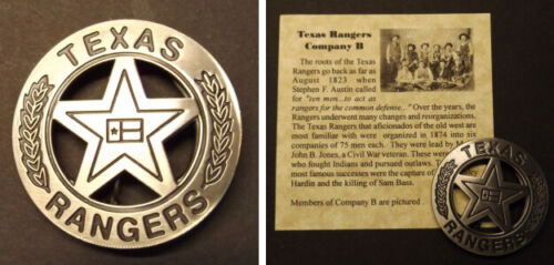 Texas Ranger Badge, Company B, Old West, Western, silver
