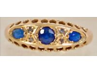 18ct Gold, Diamond & Blue Stone Ring