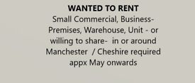 Looking for industrial warehouse space to rent or share ideally with forklift Manchester Cheshire