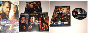 1 Wii Game, 2 PS2 Games, James Bond Cassettes Names In Descripti