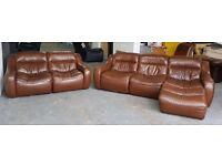 RRP £3000 DFS ZARA Brown Thick Leather Corner Sofa Set.WE DELIVER