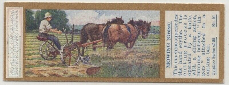 Mowing Hay With A Team Of Horses Field Farming Agriculture 1930sTrade Ad Card