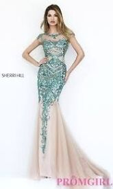 Sherri Hill Teal/Jade Cap Sleeve Dress 1939. Jewelled prom dress. Size 10