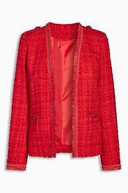 Brand New Next Red Tweed Edge To Edge Jacket Size 18