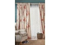 """brand new floral wide lined curtains from next 72"""" length antrim"""