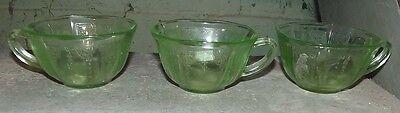 Princess green 6 depression glass cups