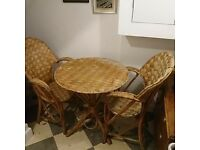 French Artisan Platted Bark Table and Two Chairs