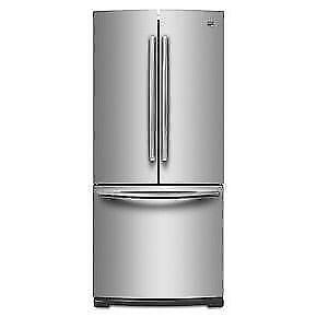 Réfrigérateur Maytag 30'' en stainless portes françaises, congélateur en bas