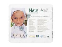 4x Naty Nature babycare size 4, 27 nappies in each box - 7-18kg