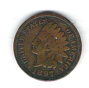 Coin 1897 USA 1 Cent Penny