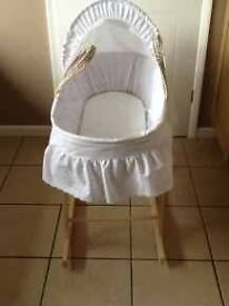 Moses basket with rocking stand. 2months old.