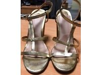 Faith gold strappy sandals with block heel, size 5, worn once