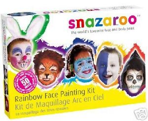 SNAZAROO PROFESSIONAL FACE PAINTING PAINT 50 FACES MAKE UP GUIDE RAINBOW KIT SET