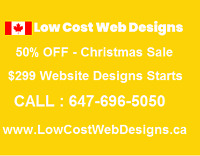 50% OFF - $299 Low Cost Web Designs Team - Call 647-696-5050