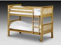 pine wooden single bunk bed frame - best child sleeper with white orthopedic mattress