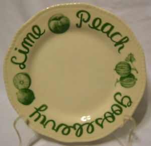 Wood & Sons Pie Plate, Apple Cherry Pear Strawberry Word Border