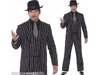 PINSTRIPE GANGSTER SUIT / GOMEZ/JACK SKELLETON FANCY DRESS SIZE L/XL GREAT FOR PARTY OR STAG DO