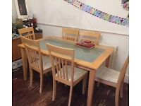Wood and frosted glass Dining Table with 6 Chairs