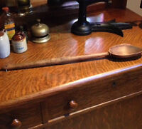 ANTIQUE wooden handmade and primitive spoon large