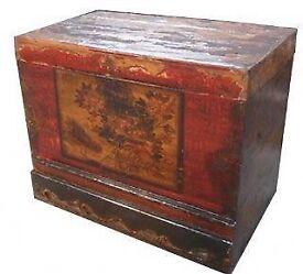 Antique painted storage trunk