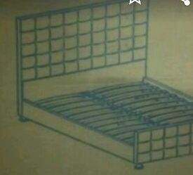 A brand new still boxed mink chenille coloured double bed frame.