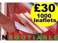 I'm a LEAFLETS Distributor - £30 per 1000 leaflets - 07459494469