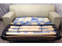 very good condition cream leather sofa sofabed with mattress
