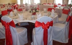 100 Loose white chair cover for events/ weddings /fit most bouquet chairs