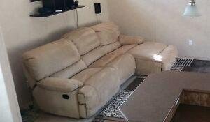 Larger 2 recliner Tan Leather Look Suede 3 Piece Sectional