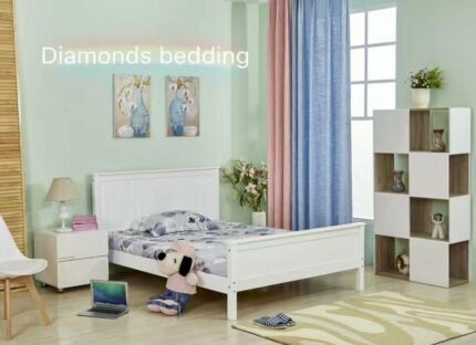 NEW Wooden White Paint Pine Wood Bed Frame D/Q Timber Slat