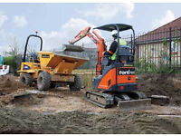 Mini Digger and Driver Hire with Grab Lorry